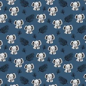 Little elephant friends adorable boho style kawaii nursery print winter navy blue boys SMALL