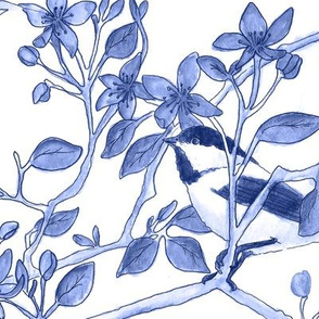 Chickadees in Blossoms Blue Vase