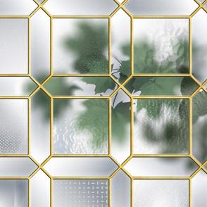 Glass Partition & Foliage (Brass/Grey)