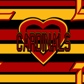 Louisville University Cardinals Red Yellow Black Stripes Hearts Team School Colors