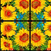 Golden Sunflowers Abstract Pattern