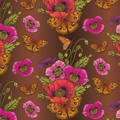 Poppies_Butterflies-BrownOmbre