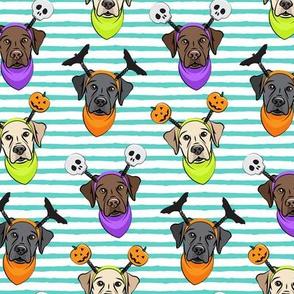 Halloween Labs - Labrador Retriever - Teal Stripes - LAD19