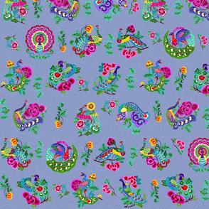 Chinoiserie Peacocks on Textured Periwinkle