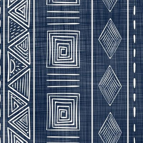 Mudcloth Style Tribal in Navy Blue and White