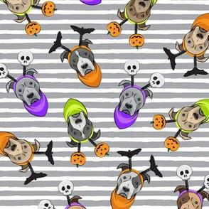 Halloween Pitties - Pit Bull Terrier - grey stripes - LAD19