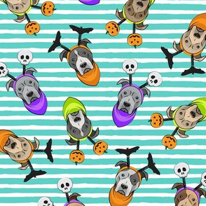 Halloween Pitties - Pit Bull Terrier - teal stripes - LAD19