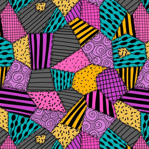 halloween patchwork - sally patches, patchwork fabric, purple, gold, grey, pink and turquoise,