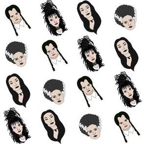gothic ladies - halloween fabric, goth ladies, costume,  - white