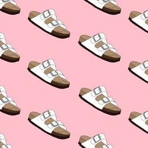 birkenstocks - shoes, sandals, white birkenstocks fabric - pink