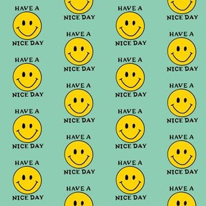 have a nice day - smiley fabric, face fabric, emoji, -  mint
