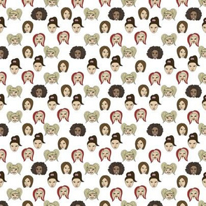 TINY - spice girls fabric - spice girls, scary, baby, posh, ginger, sporty - girl power - white
