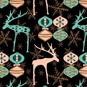 Deer and Ornaments - Limited Color Palette