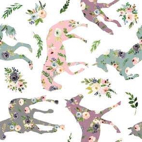 blush floral horses roated