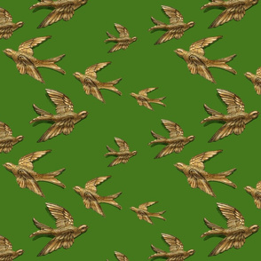 brass birds (green) fabric