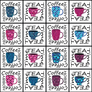 Coffee Cups and Tea Cups Typographic pattern