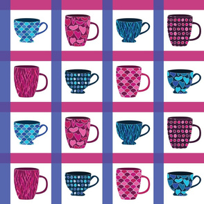 Coffee Mugs and Tea Cups Check Pattern