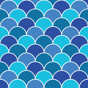 Blue Fish Scales Repeat Pattern