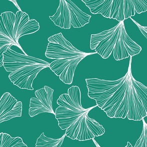 Ginkgo Leaves Large Scale - teal and white