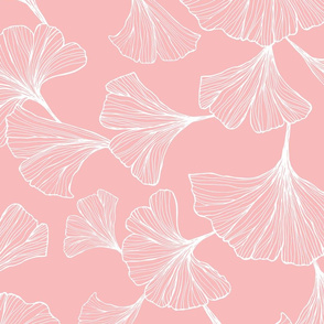 Ginkgo Leaves Large Scale - pink and white