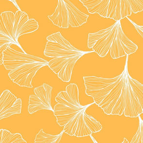 Ginkgo Leaves Large Scale - yellow and white