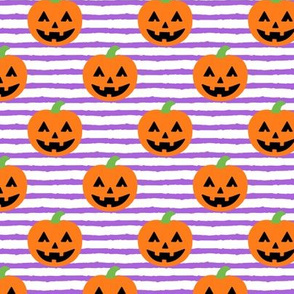Jack-o'-lantern - halloween pumpkins - purple stripes - LAD19