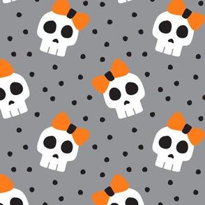 skulls with bows - halloween - grey - LAD19