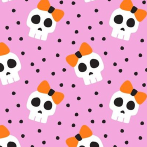 skulls with bows - halloween - pink - LAD19