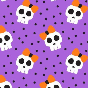 skulls with bows - halloween - purple - LAD19