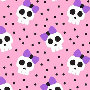 skulls with bows - halloween - pink and purple - LAD19