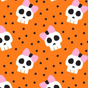 skulls with bows - halloween - orange and pink - LAD19