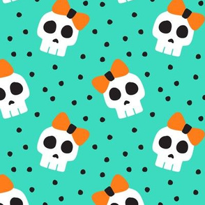 skulls with bows - halloween - teal - LAD19