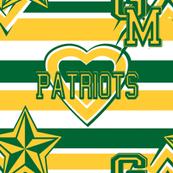 George Mason Green Gold Patriots Team School Colors Stripe Heart