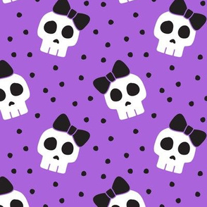 skulls with bows - halloween - purple w/ black bows - LAD19