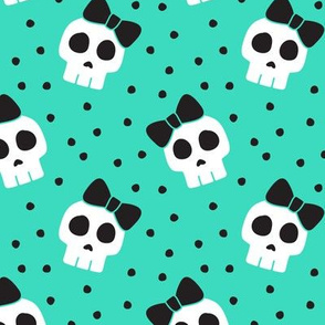 skulls with bows - halloween - teal w/ black bows - LAD19