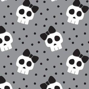 skulls with bows - halloween - grey w/ black bows - LAD19