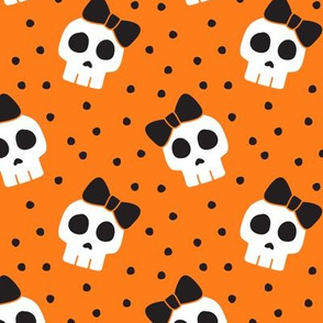 skulls with bows - halloween - orange w/ black bows - LAD19