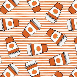 Pumpkin Spice - Coffee Cups - Latte - orange on orange stripes - Pumpkin fall drink - LAD19