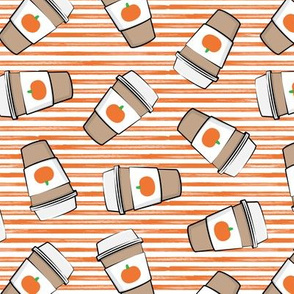 Pumpkin Spice - Coffee Cups - Latte - orange stripes - Pumpkin fall drink - LAD19