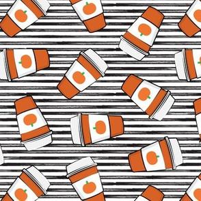 Pumpkin Spice - Coffee Cups - Latte on black stripes - Pumpkin fall drink - LAD19