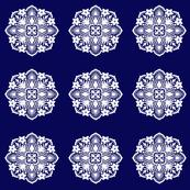 tropical flower circular tile (navy)
