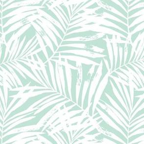 Brush palm leaves – white on mint