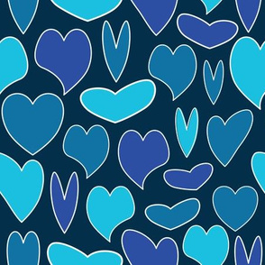 Blue Hearts Seamless Pattern