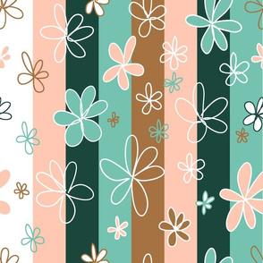 Doodle flowers on stripes - limited colour palette