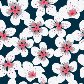 Coral White Flowers onn Navy Seamless Pattern
