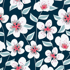 Coral and White Flowers On Blue Seamless Pattern