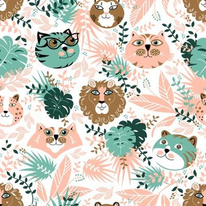 Jungle Cats Tropical Forest Pink and Gold-01