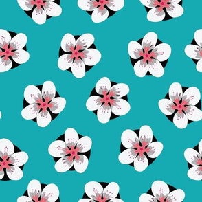Coral and White Flowers on Teal Green