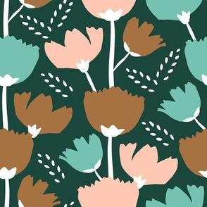 Fall Garden Flowers - greens, bronze & rosé
