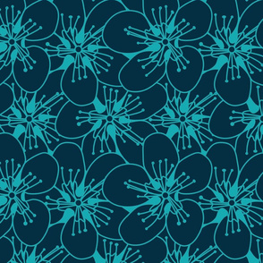 Blue Flowers On Green Seamless Pattern